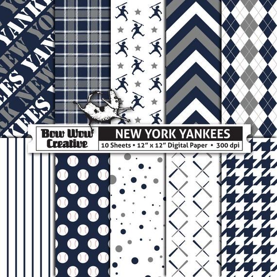 10 Nueva York Yankees Digital papeles para Scrapbooking papel