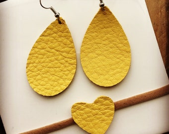 Mommy and Me matching Geniune Leather Earrings and baby leather heart headband in Sunshine yellow