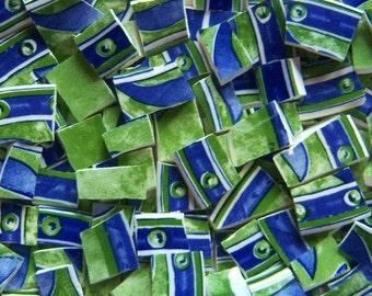Mosaic Tiles---Faience--Blue Green -100 Tiles