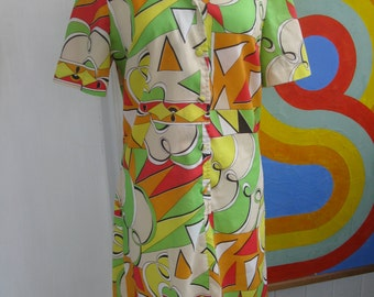 60s Psychedelic Abstract Shirtwaist House Dress / L / XL