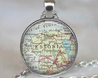 Estonia map necklace, Estonia necklace Estonia map pendant Estonia pendant  vintage map jewelry map key chain key ring key fob