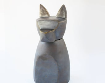 Large Anubis Dog Urn-  Rhodium
