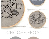 Bird embroidery kit, easy embroidery, bird embroidery pattern, DIY embroidery hoop art, modern hand embroidery, kits by I Heart Stitch Art