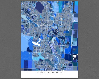 Calgary Map Print, Calgary Canada, Alberta Blue Map Art Prints