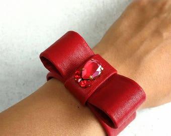 Swarovski Leather Bracelet, Red Leather Bracelet, Crystal Bracelet, Leather Bracelet, Red Bracelet, Cuff Bracelet, Swarovski Cuff, Bracelets