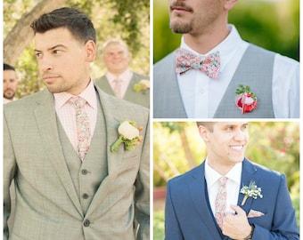 Koralle Hochzeit binden, individuelle Krawatte, individuelle Krawatte, Koralle Herren Krawatte, Koralle, Skinny binden, floralen print Krawatte, Liberty of London Krawatte, Pfirsich, binden