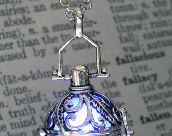 Blue Glowing Pendant Glowing Necklace - Ornate Fairy Locket - Beautiful Valentine  Gift for her LED Jewelry