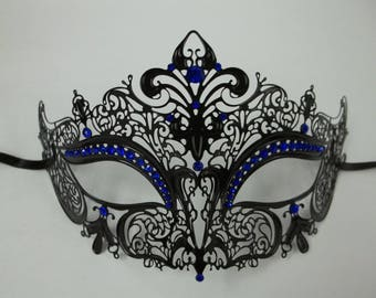Snow Queen Masquerade Mardi Gras Metal Filigree Mask in Gold, White, Silver or Black with Clear Crystals