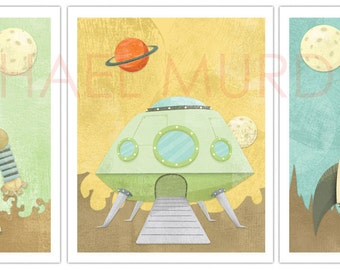 Cute yet awesome Robot, Rocket, and Alien ship 11x14 print - 3 pack.