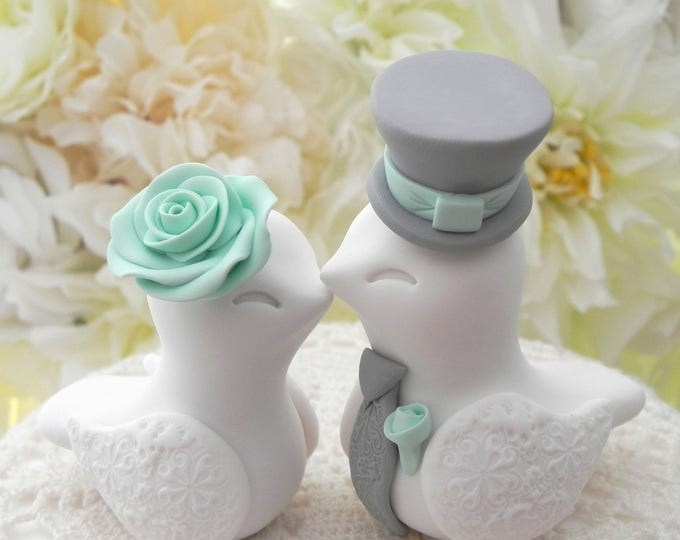 Love Birds Wedding Cake Topper, White, Mint Green and Grey, Bride and Groom Keepsake, Fully Personalized
