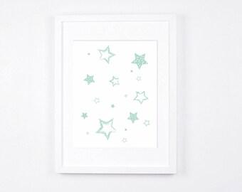 Mint and White Nursery Art Printable, Stars Art, Modern Wall Art, Mint Nursery Digital Print A4, 5 x 7 Scandinavian Baby Room Decor, 11 x 14