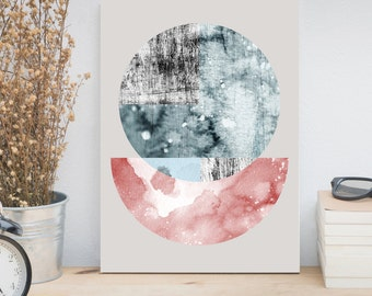 Abstract watercolor print, Large wall art, Contemporary art, Minimalist art, Geometric print, Abstract poster, Scandinavian art, Moon print