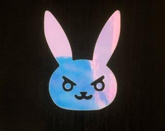 Metallic Opal D.Va Bunny Overwatch Decal | Iridescent Sticker | Vinyl | Car, Wall, Window or Laptop Decoration | Cute!