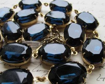 Anna Wintour, collet necklace, dark blue Statement Necklace, sapphire necklace, montana sapphire, j. Crew necklace, georgian paste.