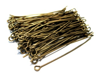 100pcs Antique Bronze Eye pins 2inches 21ga (No.592)