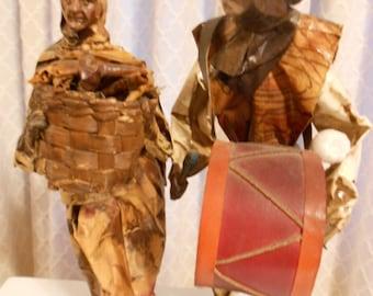 Vintage Mexican paper mache dolls.  Paper figures.