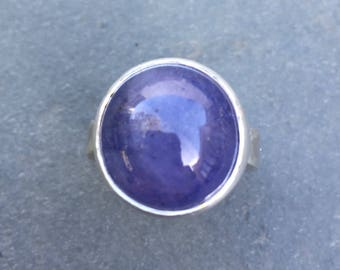 Tanzanite chunky silver handmade ring, gemstone statement ring, purple blue gemstone ring