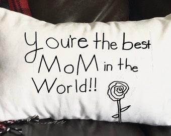 Mother's Day Pillow, Mothers Day, Custom Pillow, Hand-Drawn Pillow, Decorative Pillow, 12x16 Pillow, Burlap Pillow, Canvas Pillow
