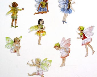 Fairy wall stickers, fairy wall decals, SET OF 8, watercolor fairy decals, flower fairy decor, girls bedroom, fairy gifts, fairies decal