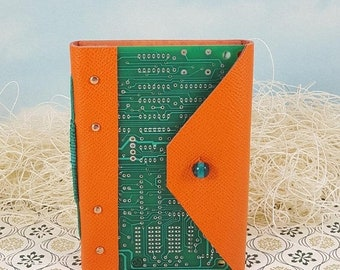 On Sale Computer Lover Circuit Board Journal Notebook with Orange Leather Wraparound Cover