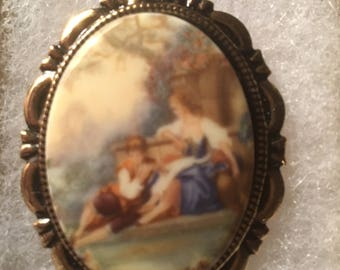 Old Masters Painting Style CAMEO  in Antique Goldtone  classic cameo  pin brooch porcelain cameo