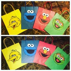 Sesame Street party favors, goodie bags, elmo goodie bags, cookie monster goodie bags, elmo decorations, elmo party favors, set of 12,