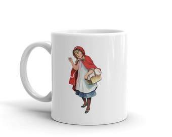 Little Red Riding Hood coffee mug, tea mug, gift for coworker, gift for teen, gift for her, stocking stuffer, fairy tale
