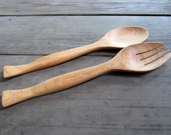 Wooden Big  Size Salad Stove Spoon and Fork Utensils 11 Inches