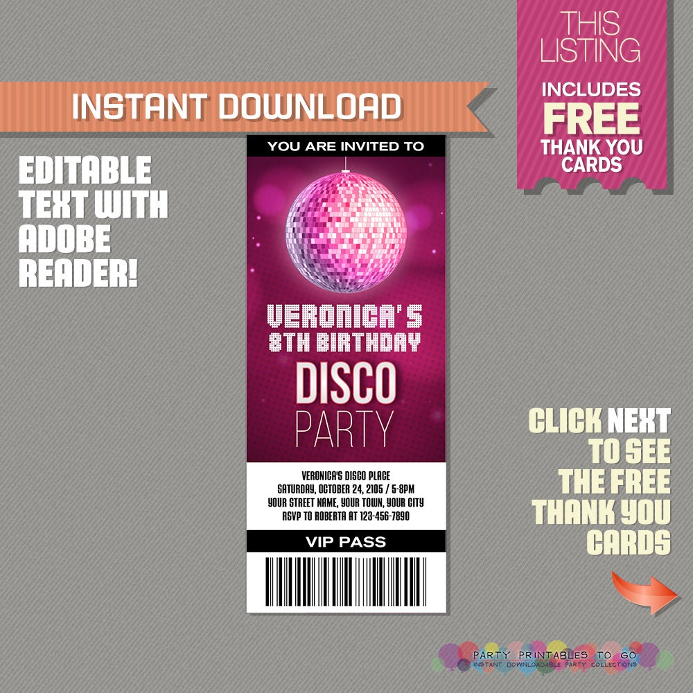 Disco Party Ticket Invitation With FREE Thank You Card - Disco birthday invitation templates free