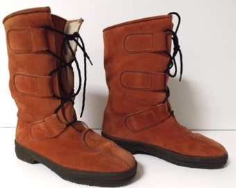 Vintage Italian Made Alpine Lace Up Hiking Boots, Brown Suede/ Leather & Wool Lining - Civitas Boots, Italy