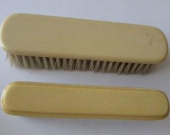 2 Vintage Celluloid Brushes Clothes Brush French Ivory Brush