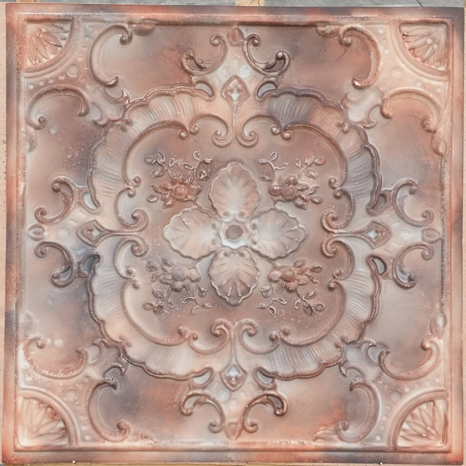 Pl19 Faux Tin Painting Mixed Media Art 3d Embossed Ceiling