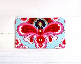 Coin Purse, Change Pouch, Small Zipper Pouch, Women and Teens, Amy Butler, French Wallpaper in Duck Egg