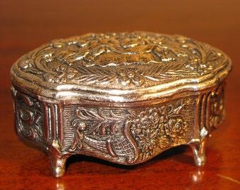 Antique Vintage Style Silver Plate Jewellery Casket Trinket Ring Box Cherubs