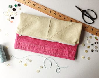 Canvas Pouch, Zip Pouch, Clutch, Fold Over Pouch, Patchwork Bag