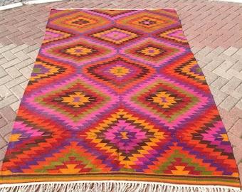 "Diamond design Kilim rug, 107'' x 70"", Vintage Turkish rug, pink kilim, bright colored area rug, vintage, bohemian rug, eccentric rug, 470"