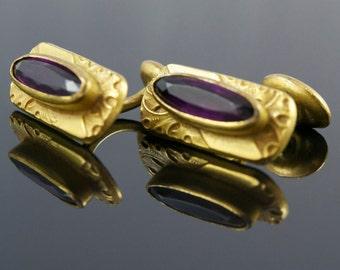 Gorgeous, Antique Cufflinks: Art Nouveau, Czech, Gold Filled, Art Nouveau Cuff Links.