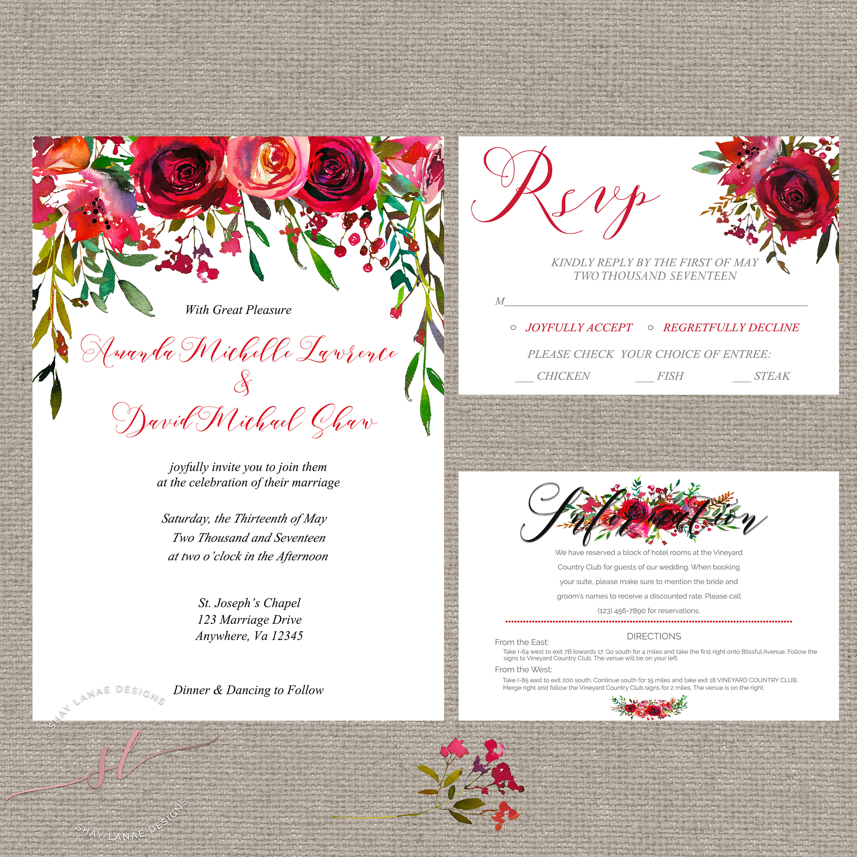 Red Floral Wedding Package// Wedding Invitations// Rose