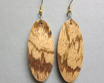 Unique Tribal Exotic Wood Earrings handcrafted drop oval ecofriendly organic repurposed