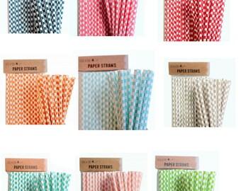 Paper Straws Retro Tableware Birthday Party Wedding - Cubes Design - various colours