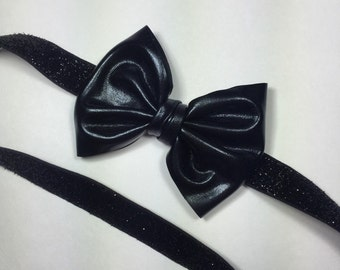 Black bow headband. Metallic black bow. Black bow hair clip.