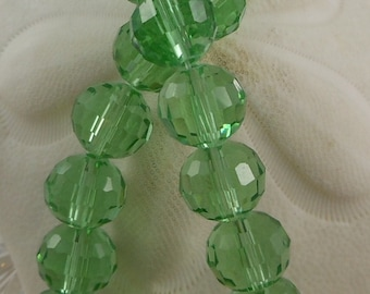 Crystal Beads 12mm Faceted Round Disco Balls Light Green (Qty 6) PH-DB12-LG