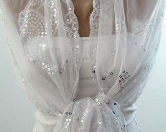 White Scarf Shawl Tulle Scarf White Wedding Shawl Scarf Wrap Bridal Accessories Sequin Scarf Fashion Accessories For Bride