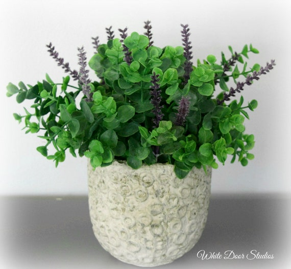 Eucalyptus and Lavender Arrangement in Cement Planter Pot