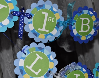 Boys 1st Birthday Banner - Blue Polkadots - Personalized - Boys Birthday Party Decorations