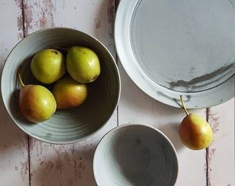 Ceramic Dinnerware Gray Dinnerware Gray Dinner Plate Set Gray Dinner Plates Gray & Plate sets | Etsy