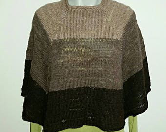 Naturally Coloured Wool, Hand Spun, Hand Knitted Poncho / Jumper / Sweater