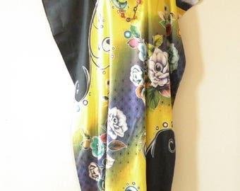 Sun Rhapsody Batik Dolman Batwing Sheen Caftan Kaftan Tunic Hippy Maxi Dress - L, XL, 1X & 2X