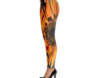 Orange Flower Leggings