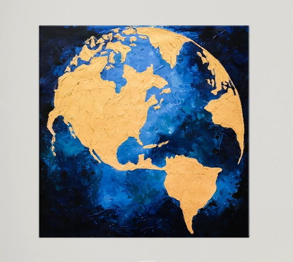 Modern art globe map world map painting gold leaf art like this item gumiabroncs Gallery